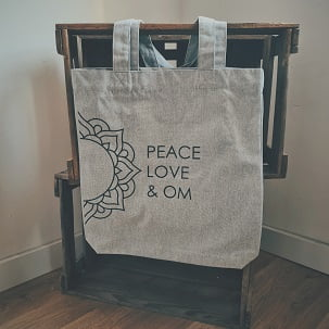 Jutetasche Peace Love & Om